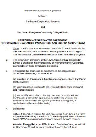 Performance Guarantee Agreement