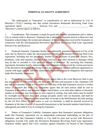 Personal Guaranty Agreement