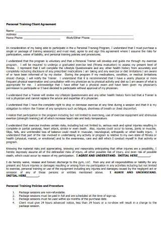 Personal Training Client Agreement