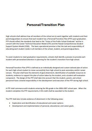 Personal Transition Plan