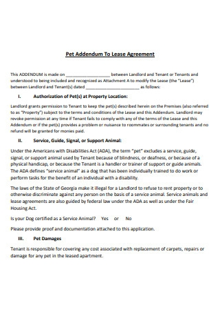 Pet Addendum to a Lease Agreement Template