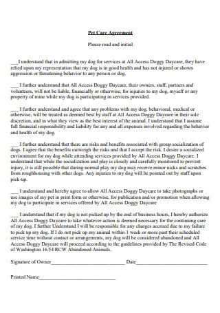Pet Care Agreement Example