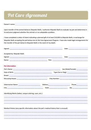 Pet Care Agreement in PDF