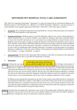 Pet Hospital Total Care Agreement