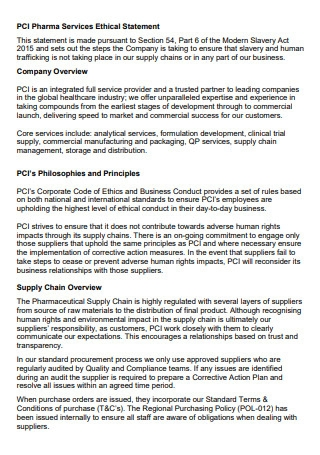 Pharma Services Ethical Statement