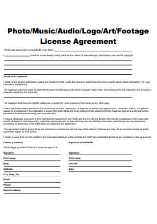 Photo License Agreement Example