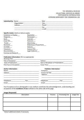 Photographic Licensing Agreement