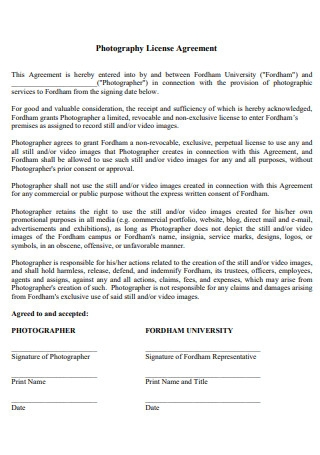 Photography License Agreement Template
