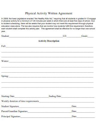 Physical Activity Written Agreement