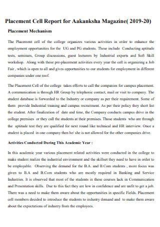 Placement Cell Report for Magazine