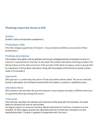 Planning Report for Thesis