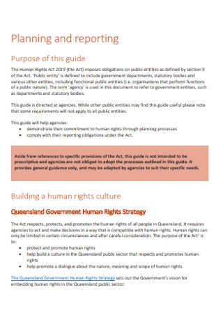 Planning and Report for Human Rights