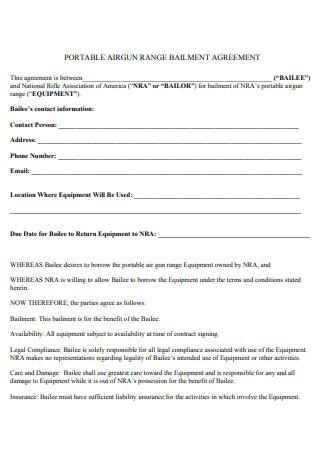 Portable Range Bailment Agreement