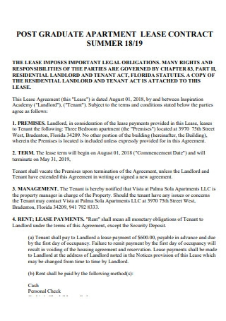 Post Graduate Apartment Lease Contract