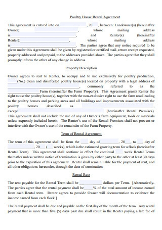 Poultry House Rental Agreement