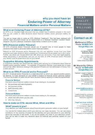 Power of Attorney Financial Matters
