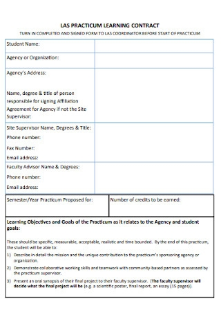 Practicum Learning Contract