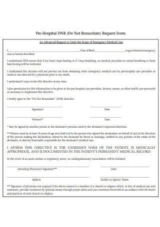 Pre Hospital Request Form