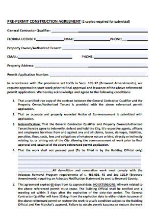 Pre Permit Construction Agreement