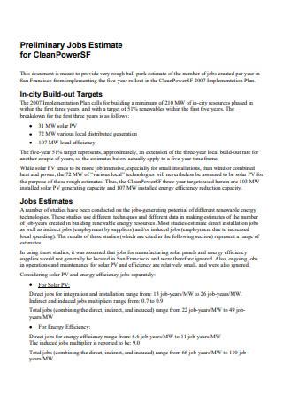 Preliminary Job Estimate