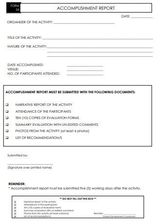 Printable Accomplishment Report