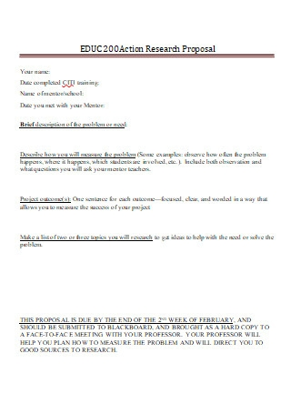 Printable Action Research Proposal