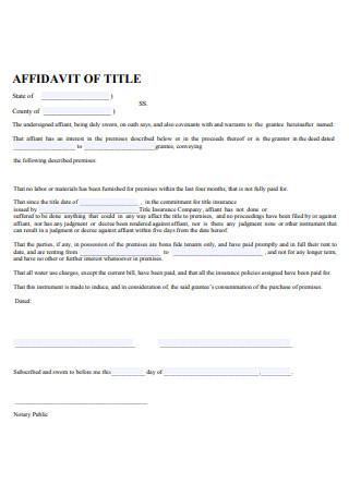 Printable Affidavit of Title
