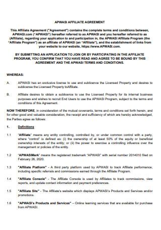 Printable Affiliate Agreement