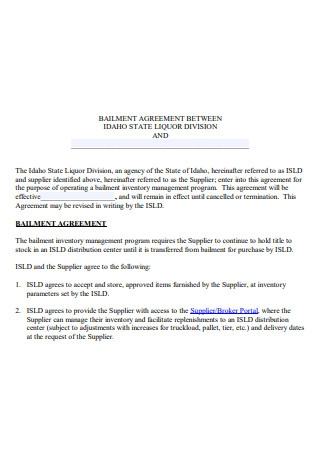 Printable Bailment Agreement