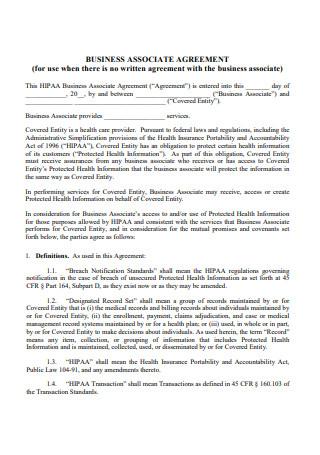 Printable Business Associate Agreement