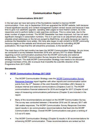 Printable Communication Report