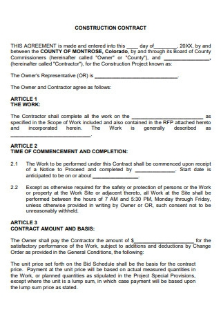 Printable Construction Contract Agreement