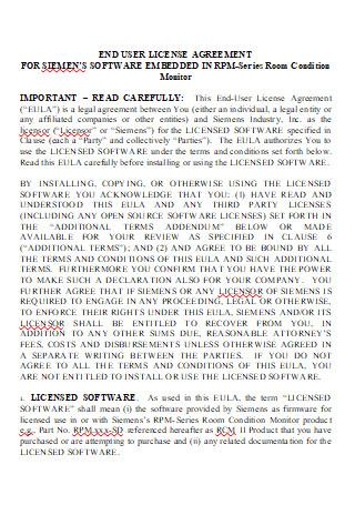 Printable End User License Agreement