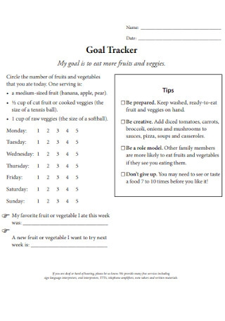 Printable Goal Tracker