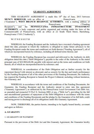 Printable Guaranty Agreement