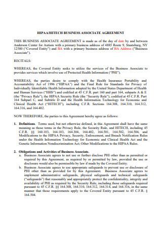 Printable HIPAA Business Associate Agreement