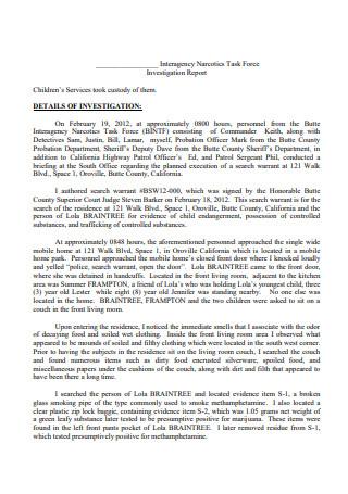 Printable Investigation Report