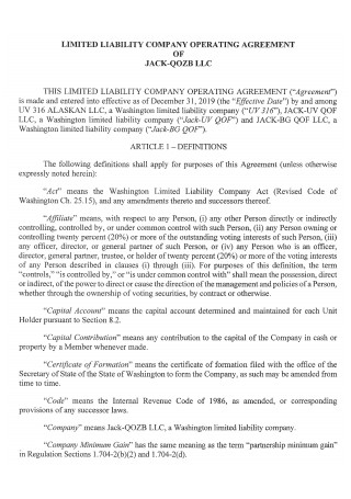 Printable Limited Liability Company Operating Agreement