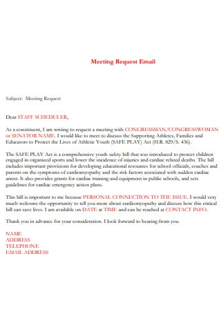 Printable Meeting Request Email