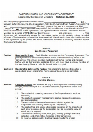 Printable Occupancy Agreement