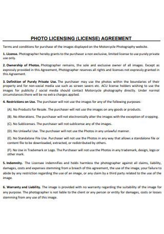Printable Photo Licensing Agreement