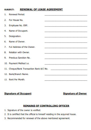Printable Renewal Lease of Agreement
