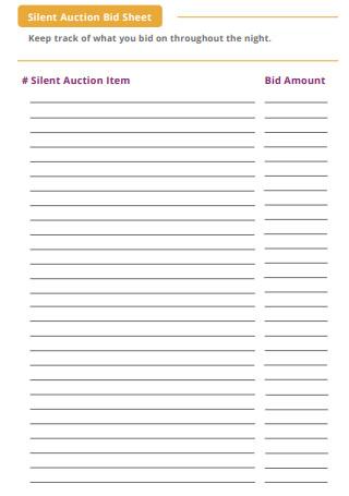 Printable Silent Auction Bid Sheet