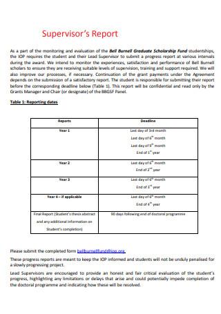 Printable Supervisor Report