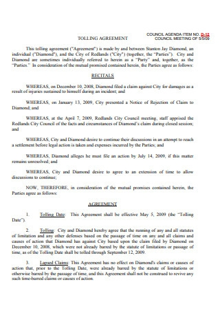 Printable Tolling Agreement