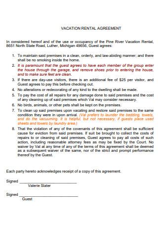 Printable Vacation Rental Agreement