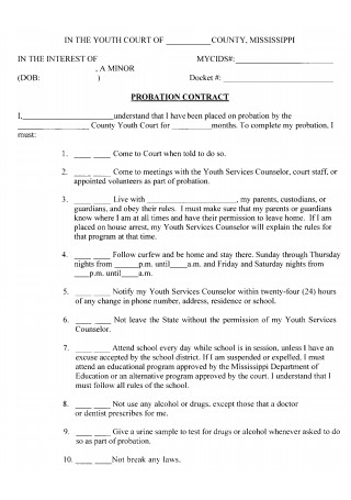 Probation Contract Template