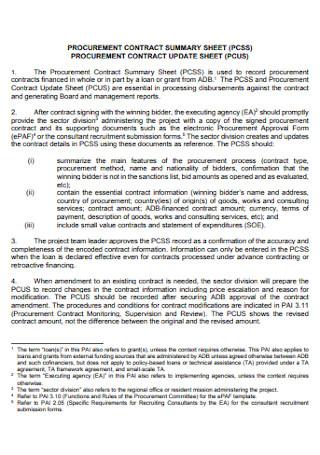 Procurment Contract Update Sheet