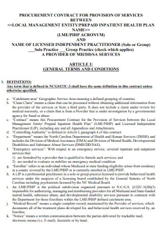 Procurment Contract for Provision Services