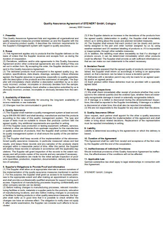 Product Quality Assurance Agreement